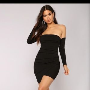 Black tube dress with attached sleeves